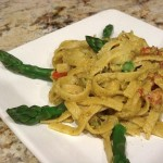 Pasta with Creamy Asparagus & Green Pea Pesto