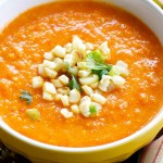 Red Pepper Soup With Corn Salsa