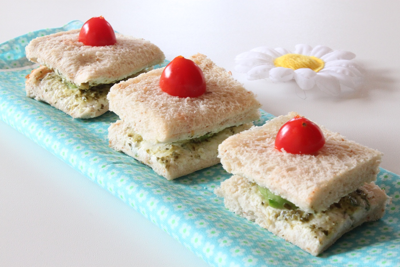 Cucumber cream cheese amp pesto sandwiches