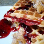 Coconut Waffles with Raspberry Rhubarb Sauce